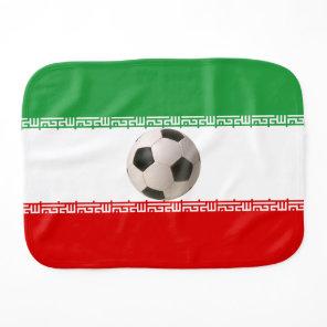 Soccerball with Iranian flag Burp Cloth