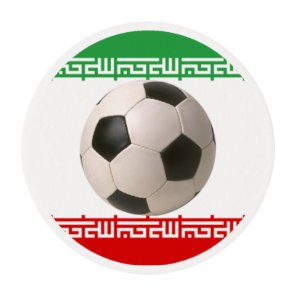 Soccerball with Iranian flag Edible Frosting Rounds