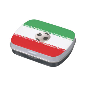 Soccerball with Iranian flag Jelly Belly Tin