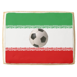 Soccerball with Iranian flag Jumbo Shortbread Cookie
