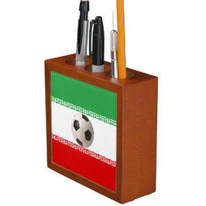 Soccerball with Iranian flag Pencil/Pen Holder