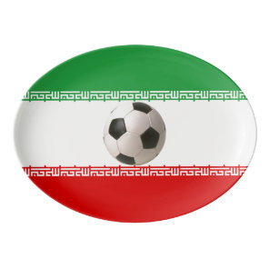 Soccerball with Iranian flag Porcelain Serving Platter