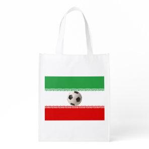 Soccerball with Iranian flag Reusable Grocery Bag