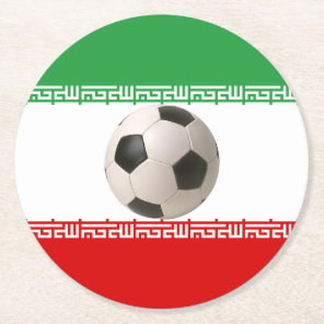 Soccerball with Iranian flag Round Paper Coaster