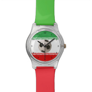 Soccerball with Iranian flag Wrist Watches