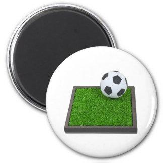 SoccerBallGrass101311 2 Inch Round Magnet