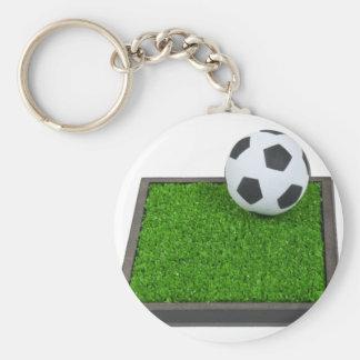 SoccerBallGrass101311 Basic Round Button Keychain