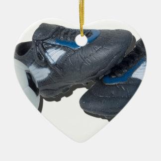 SoccerBallTrackShoes050915 Ceramic Ornament