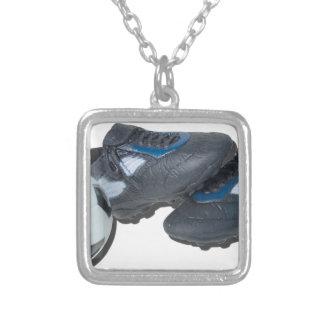 SoccerBallTrackShoes050915 Square Pendant Necklace