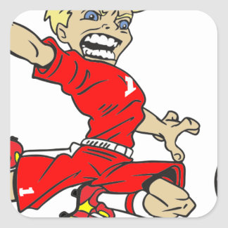 SOCCERBOY RED BLONDE SQUARE STICKER