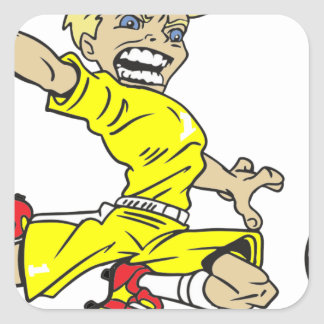 SOCCERBOY YELLOW BLONDE SQUARE STICKER