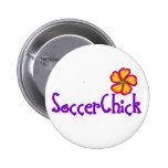 SoccerChick FlowerDark Pinback Button