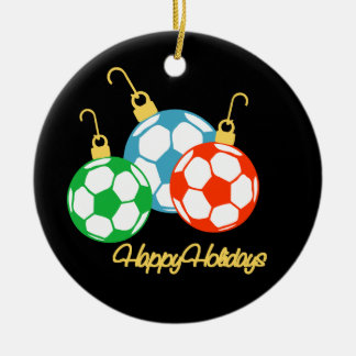 SoccerChick Personalized Happy Holidays Ornament