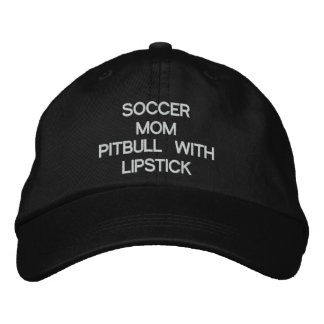 SOCCERMOM, PITBULL WITH LIPSTICK EMBROIDERED BASEBALL HAT
