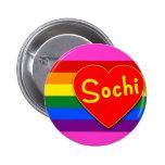 Sochi con el arco iris de la bandera del corazón y pin
