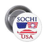 Sochi USA snowflake Pinback Button