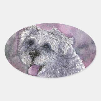 Sociable Schnauzer dog Oval Sticker