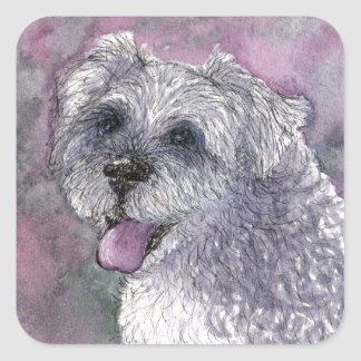 Sociable Schnauzer dog Square Sticker