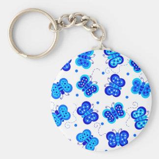 Social azul de la mariposa llaveros personalizados