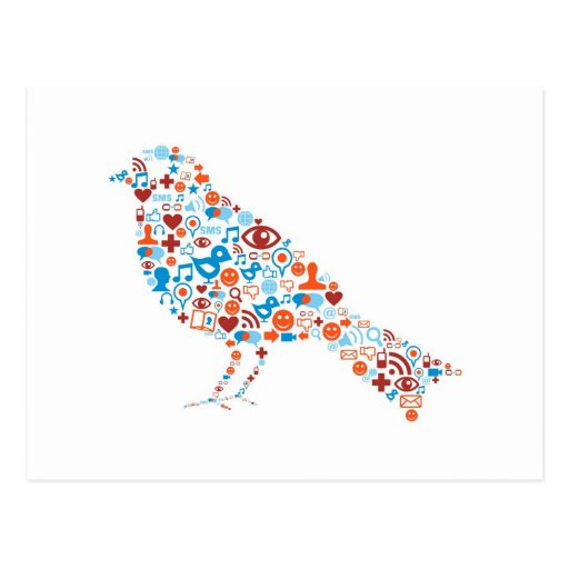 Social bird Shape Postcard