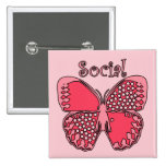 Social Butterfly 2 Inch Square Button