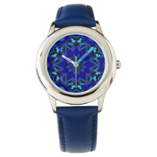 Social Butterfly Custom Stainless Steel Blue Watch