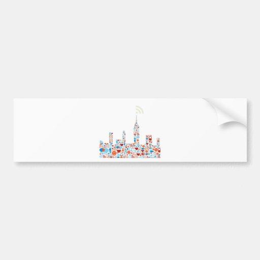 Social City Shape Car Bumper Sticker