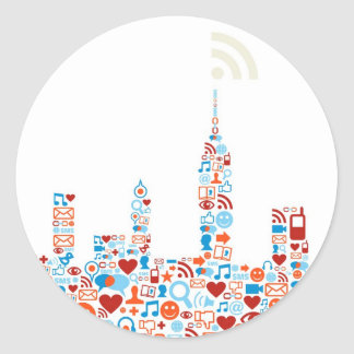 Social City Shape Classic Round Sticker