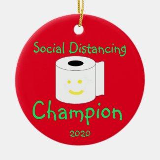 Social Distancing Champion Ceramic Ornament