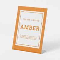 Social distancing color amber wedding instruction pedestal sign