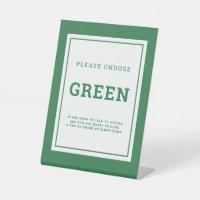Social distancing color green wedding instruction pedestal sign