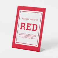 Social distancing color red wedding instruction pedestal sign