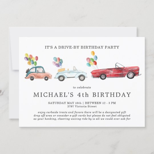 Social Distancing Drive-By Birthday Invitation