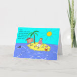 """Social Distancing Female Funny Cartoon Birthday Card<br><div class=""""desc"""">Funny topical cartoon of a woman sitting on a desert island with the sun beating down. She is sitting under a palm tree with a glass of wine. Easily personalize all the template text on this card. Add a name, or edit the caption which reads: Name wanted to go away...</div>"""
