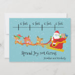 Social Distancing Spread Joy Christmas Santa Sled Holiday Card