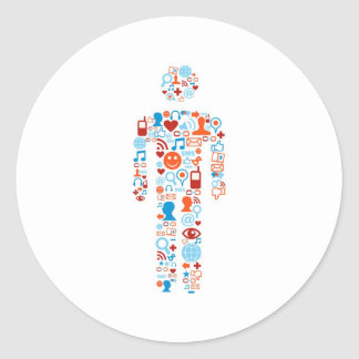 Social human shape classic round sticker