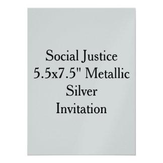 "Social Justice 5.5x7.5"" Metallic Silver Invitation"