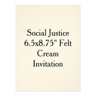 "Social Justice 6.5x8.75"" Felt Cream Invitation"