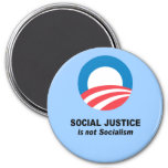 Social Justice is not socialism 3 Inch Round Magnet