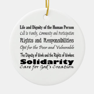 Social Justice Themes with cross balance T Ceramic Ornament