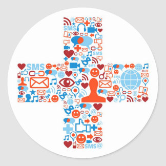 Social más forma etiquetas redondas