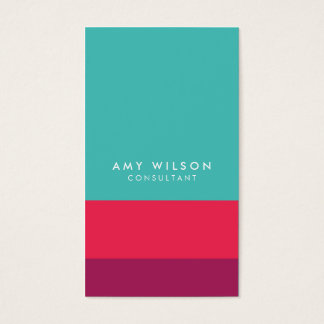 Social Media Color Block Turquoise Pink Purple Business Card