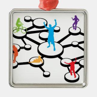 Social Media Connections Diagram Metal Ornament