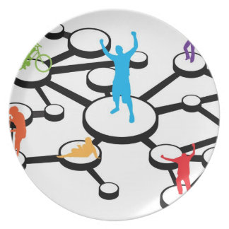 Social Media Connections Diagram Dinner Plates