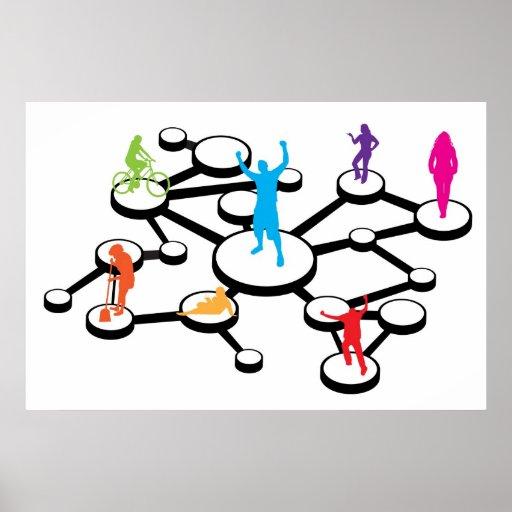 Social Media Connections Diagram Poster