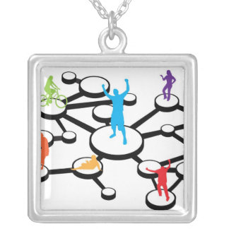 Social Media Connections Diagram Silver Plated Necklace