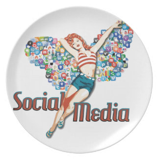 Social Media fairy pin-up Dinner Plates