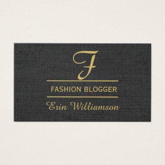 Social Media Fashion Blogger Black Golden Minimal Business Card