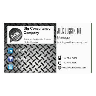 Social Media Focused Dark Metal Effect Designed Business Card