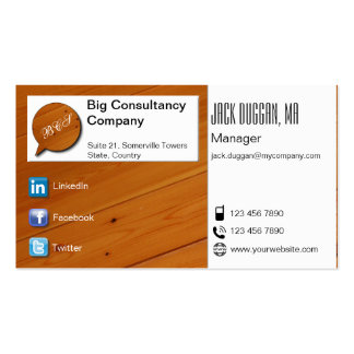 Social Media Focused Pine and White Designed Business Card